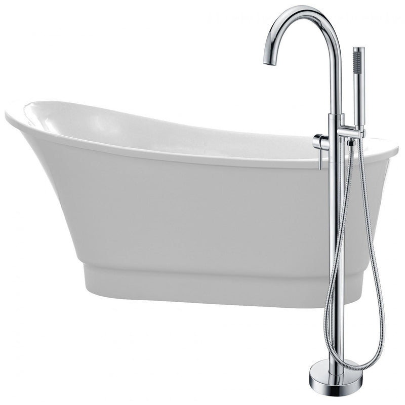 ANZZI FTAZ095-0025C Prima 67 in. Acrylic Flatbottom Non-Whirlpool Bathtub in White with Kros Faucet in Polished Chrome - homeconvex