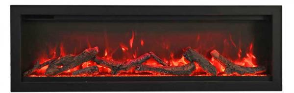 "Amantii SYM-100 100"" Clean face Electric Built-in with log and glass, black steel surround"
