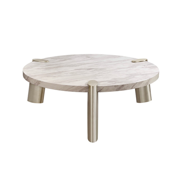 Whiteline Modern Living CT1657L Mimeo Large round Coffee Table, White Marble