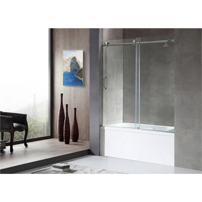 ANZZI SD-AZ17-01CH Don Series 59 in. x 62 in. Frameless Sliding Tub Door in Polished Chrome - homeconvex