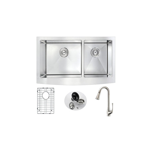 ANZZI K36203A-042 Elysian Farmhouse 36 in. Double Bowl Kitchen Sink with Singer Faucet in Brushed Nickel - homeconvex