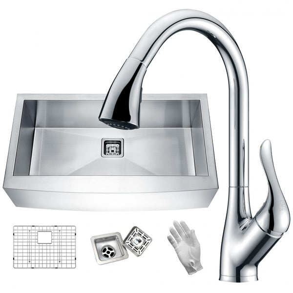 ANZZI KAZ33201AS-031 Elysian Farmhouse 32 in. Single Bowl Kitchen Sink with Faucet in Polished Chrome - homeconvex