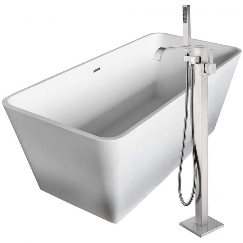 ANZZI FTAZ501-0044B Cenere 58.25 in. Man-Made Stone Soaking Bathtub in White with Angel Faucet in Brushed Nickel - homeconvex
