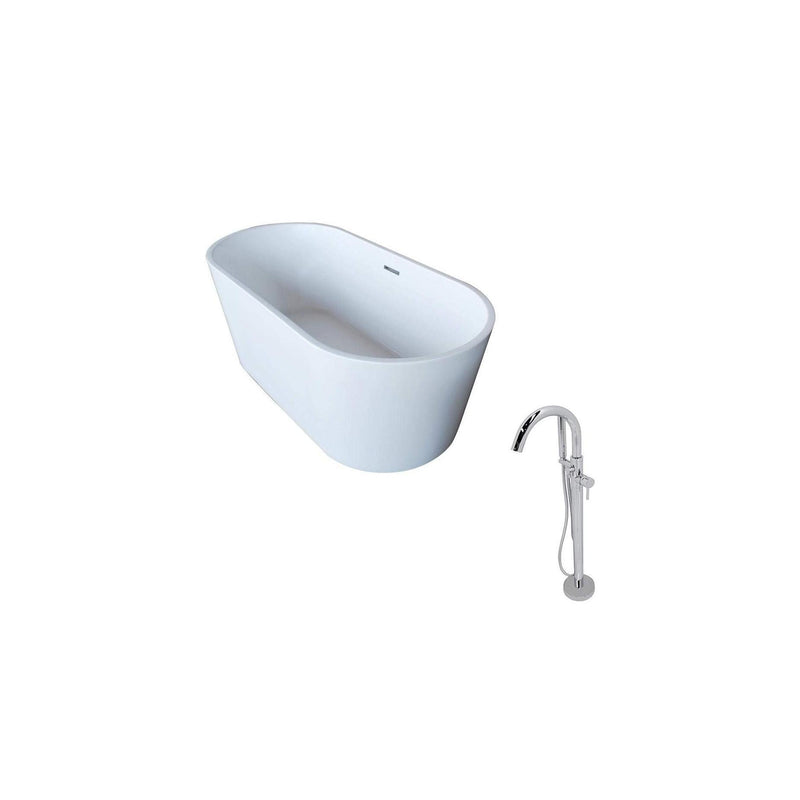 ANZZI FT009-0025 Dover 5.6 ft. Acrylic Classic Freestanding Soaking Bathtub in White and Kros Faucet in Chrome - homeconvex