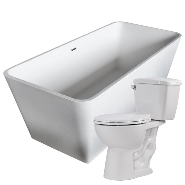 ANZZI FTAZ501-T063 Cenere 58.25 in. Man-Made Stone Soaking Bathtub with Cavalier 2-piece 1.28 GPF Single Flush Toilet - homeconvex