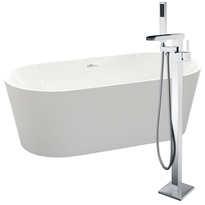 ANZZI FTAZ098-0059C Chand 67 in. Acrylic Flatbottom Non-Whirlpool Bathtub in White with Union Faucet in Polished Chrome - homeconvex