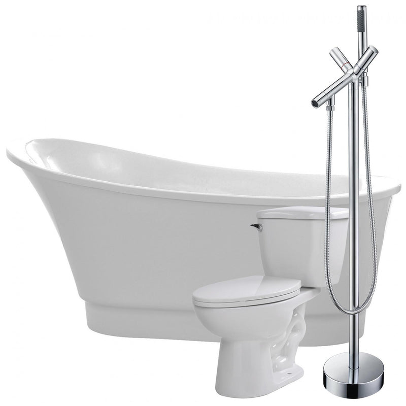 ANZZI FTAZ095-42C-55 Prima 67 in. Acrylic Flatbottom Non-Whirlpool Bathtub with Havasu Faucet and Kame 1.28 GPF Toilet - homeconvex