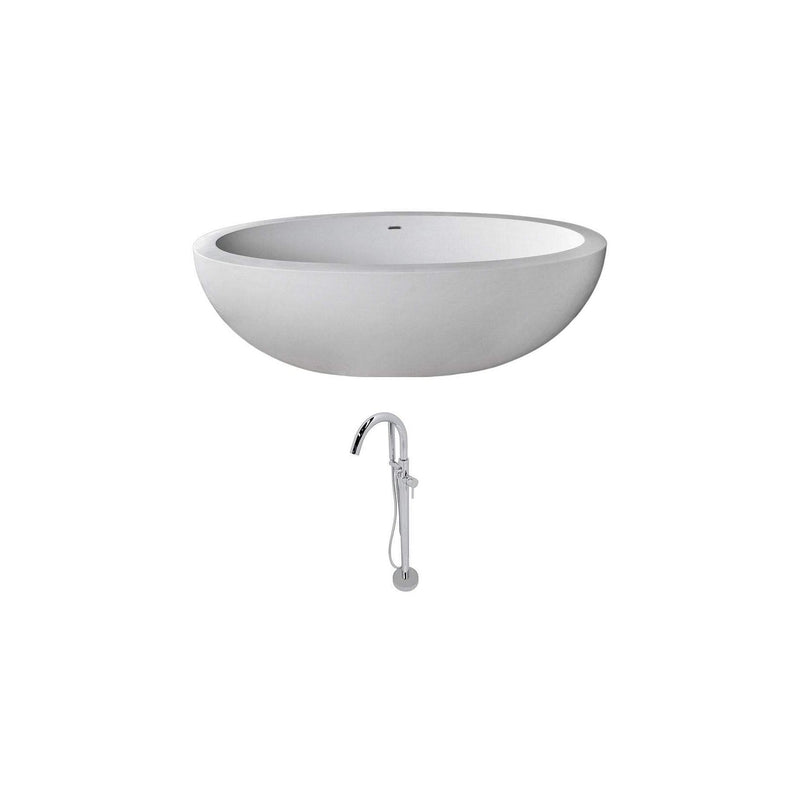 ANZZI FT504-0025 Lusso 6.3 ft. Man-Made Stone Classic Soaking Bathtub in Matte White and Kros Faucet in Chrome - homeconvex