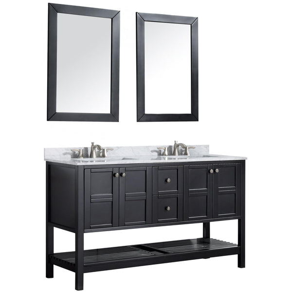 ANZZI V-MGG015-60 Montaigne 60 in. W x 35 in. H Bathroom Vanity Set in Rich Black - homeconvex