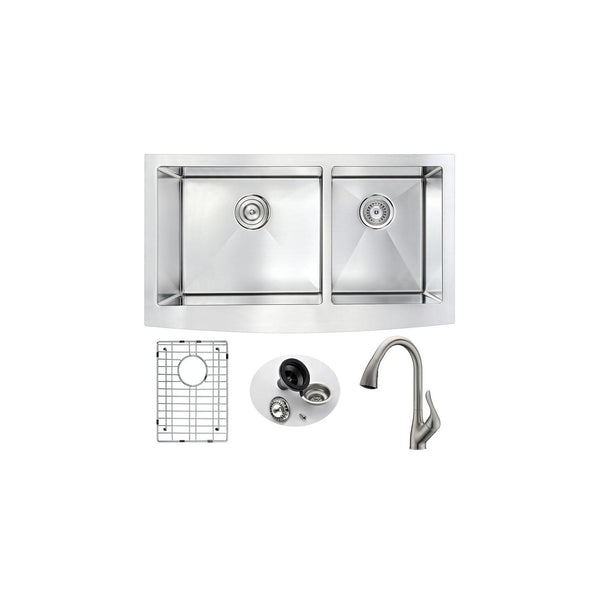 ANZZI KAZ3320-031B Elysian Farmhouse 33 in. Double Bowl Kitchen Sink with Accent Faucet in Brushed Nickel - homeconvex