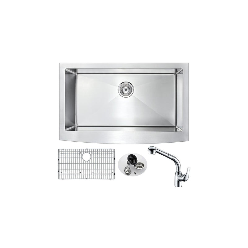 ANZZI K33201A-040 Elysian Farmhouse 32 in. Kitchen Sink with Harbour Faucet in Polished Chrome - homeconvex
