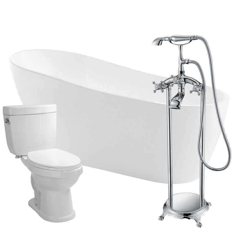 ANZZI FTAZ093-52B-65 Trend 67 in. Acrylic Flatbottom Non-Whirlpool Bathtub with Tugela Faucet and Talos 1.6 GPF Toilet - homeconvex