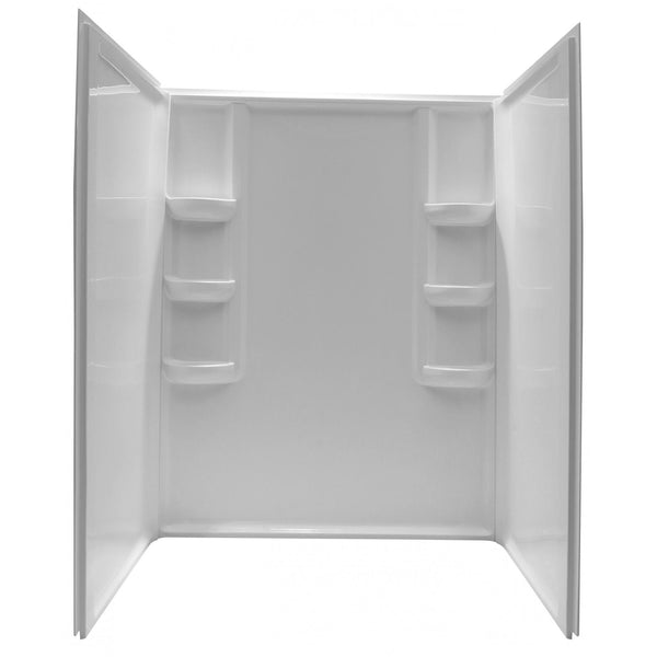ANZZI SW-AZ009WH Lex-Class 60 in. x 36 in. x 74 in. 3-piece Direct-to-Stud Alcove Shower Surround in White - homeconvex