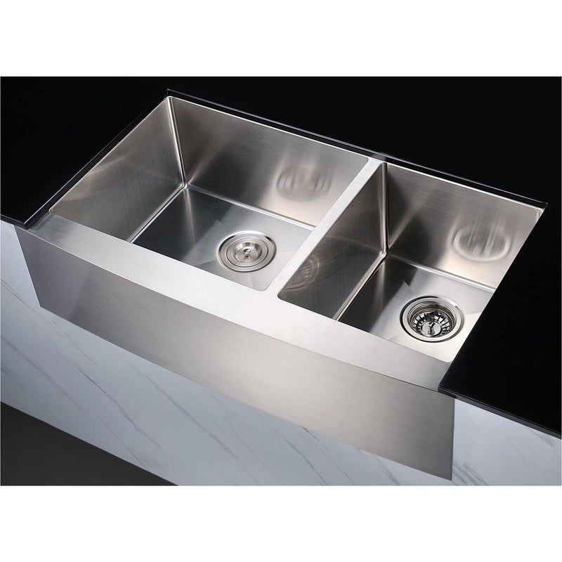 ANZZI KAZ36203A-GD12 Elysian Farmhouse 36 in. 60/40 Double Bowl Kitchen Sink with Medusa 1/2HP Garbage Disposal - homeconvex