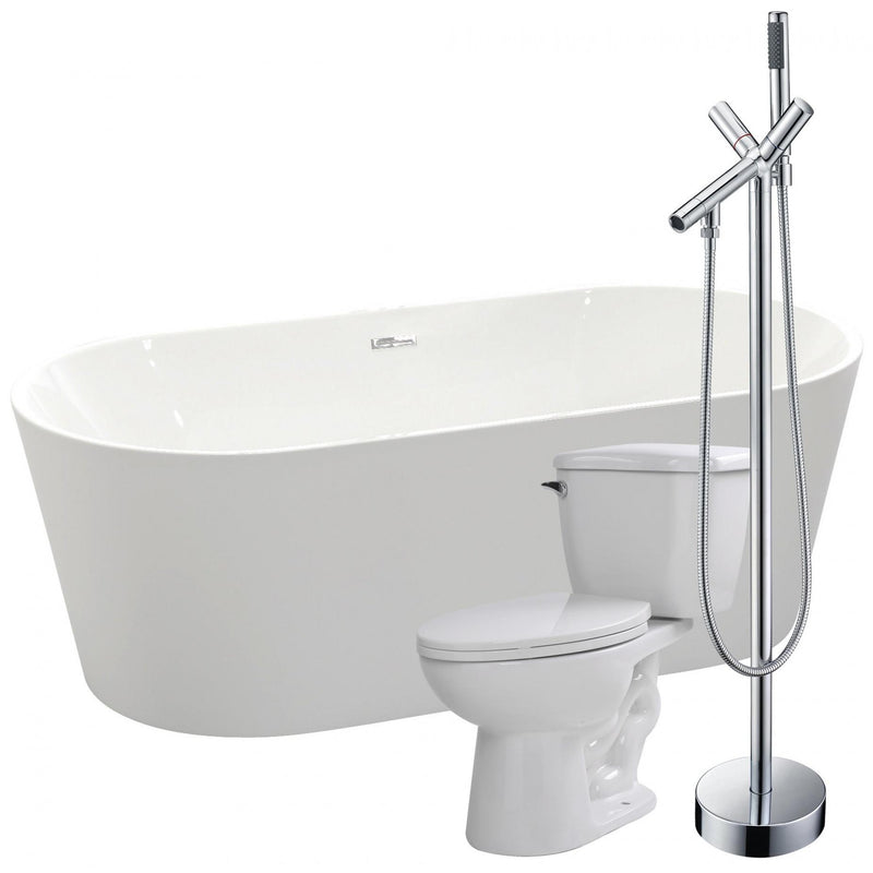 ANZZI FTAZ098-42C-55 Chand 67 in. Acrylic Flatbottom Non-Whirlpool Bathtub with Havasu Faucet and Kame 1.28 GPF Toilet - homeconvex