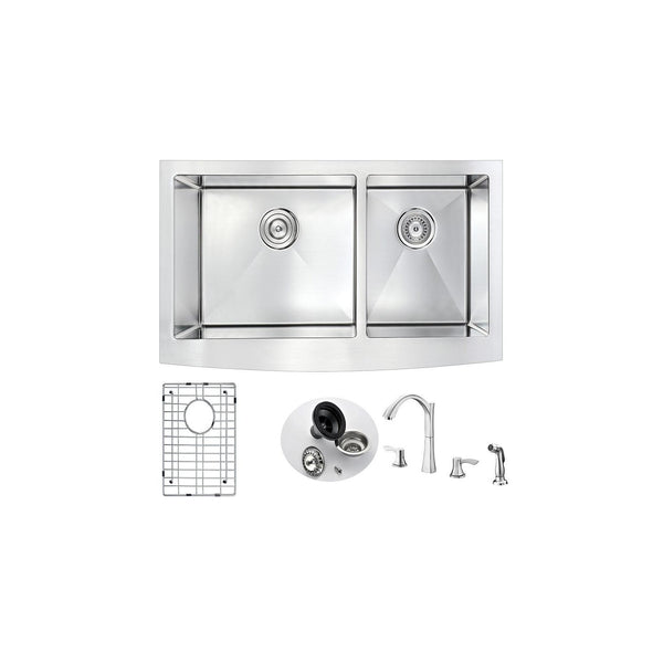 ANZZI K36203A-032 Elysian Farmhouse 36 in. Double Bowl Kitchen Sink with Soave Faucet in Polished Chrome - homeconvex
