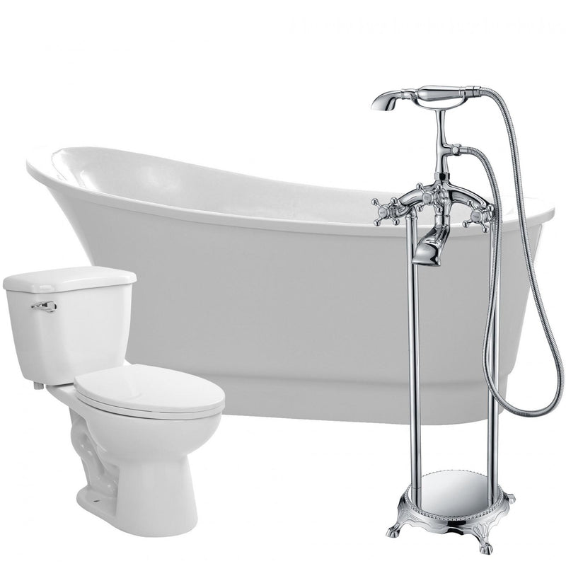 ANZZI FTAZ095-52C-55 Prima 67 in. Acrylic Flatbottom Non-Whirlpool Bathtub with Tugela Faucet and Kame 1.28 GPF Toilet - homeconvex