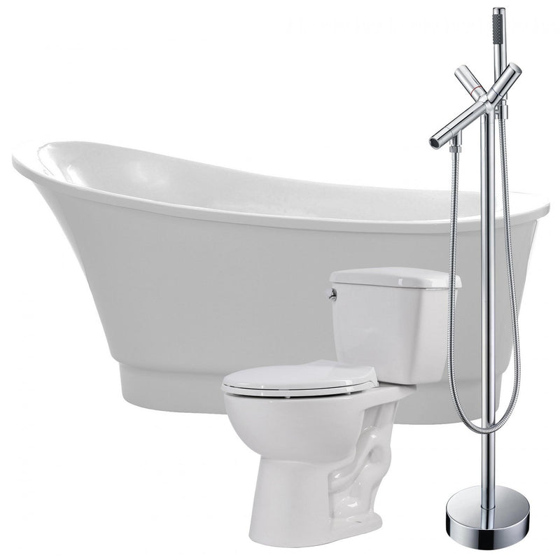 ANZZI FTAZ095-42C-63 Prima 67 in. Acrylic Soaking Bathtub with Havasu Faucet and Cavalier 1.28 GPF Toilet - homeconvex
