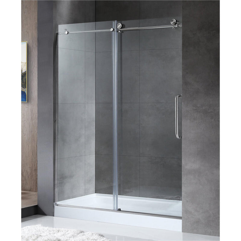 ANZZI SD-AZ13-02BN Madam Series 60 in. by 76 in. Frameless Sliding Shower Door in Brushed Nickel with Handle - homeconvex