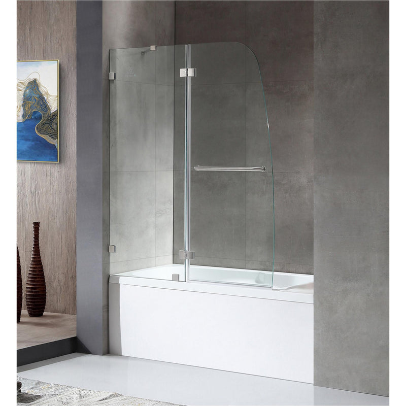 ANZZI SD-AZ11-01BN Herald Series 48 in. by 58 in. Frameless Hinged tub door in Brushed Nickel - homeconvex