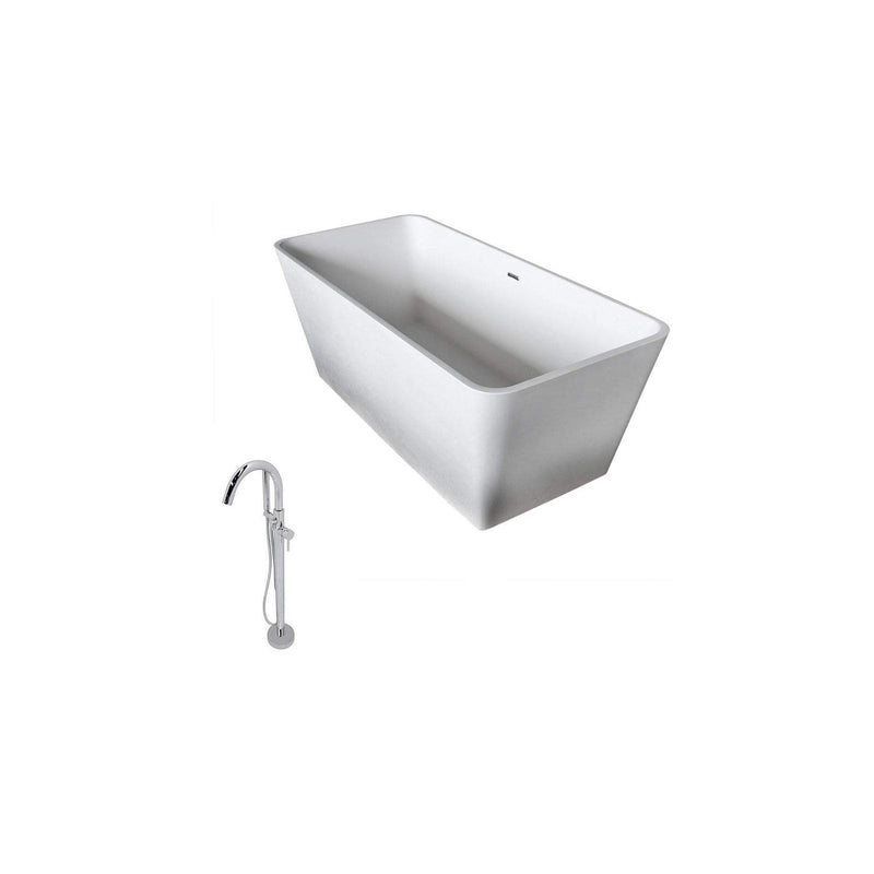ANZZI FT501-0025 Cenere 4.9 ft. Man-Made Stone Classic Soaking Bathtub in Matte White and Kros Faucet in Chrome - homeconvex