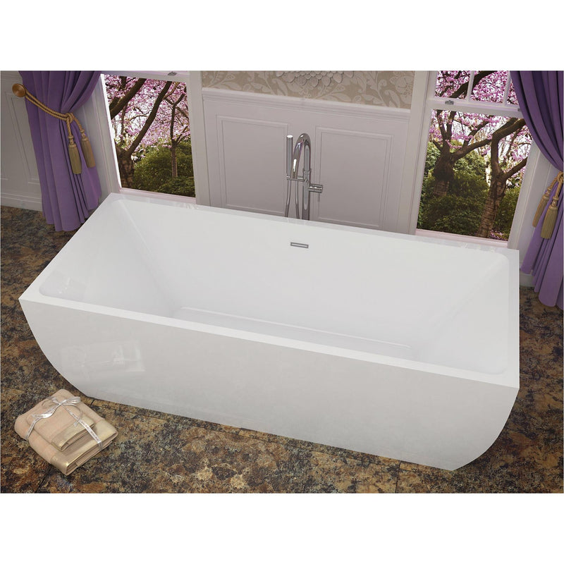 ANZZI FT-AZ007 Rook 5.6 ft. Acrylic Center Drain Freestanding Bathtub in Glossy White - homeconvex