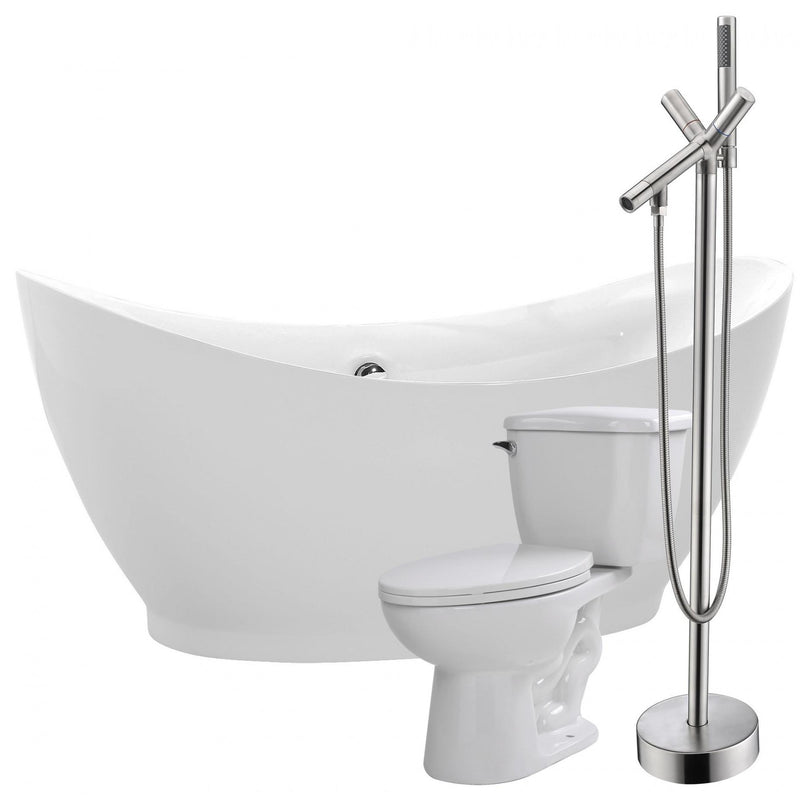ANZZI FTAZ091-42B-55 Reginald 68 in. Acrylic Flatbottom Non-Whirlpool Bathtub with Havasu Faucet and Kame 1.28 GPF Toilet - homeconvex