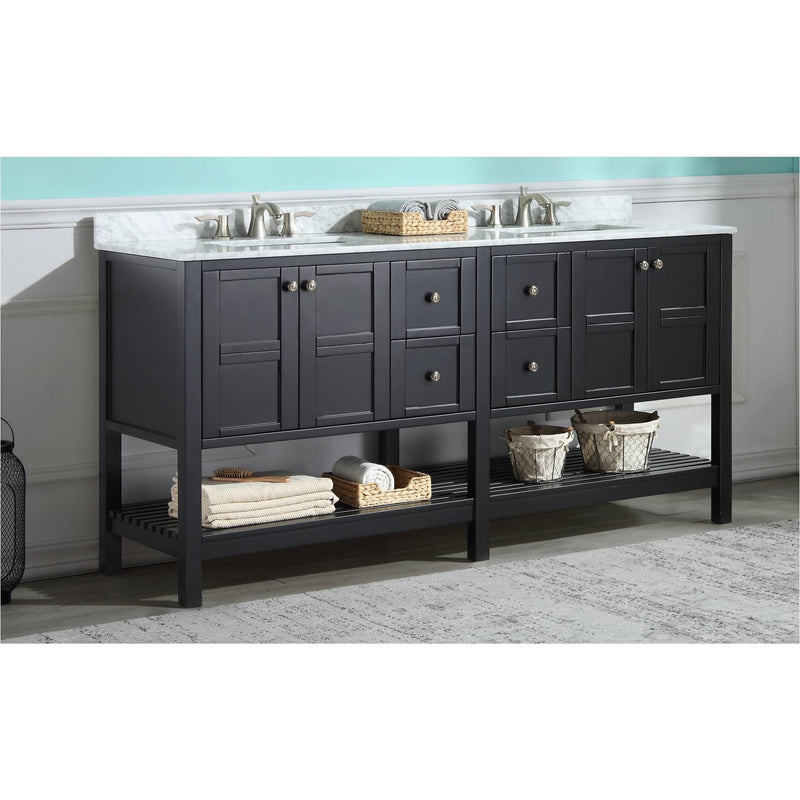 ANZZI V-MGG015-72 Montaigne 72 in. W x 35 in. H Bathroom Vanity Set in Rich Black - homeconvex