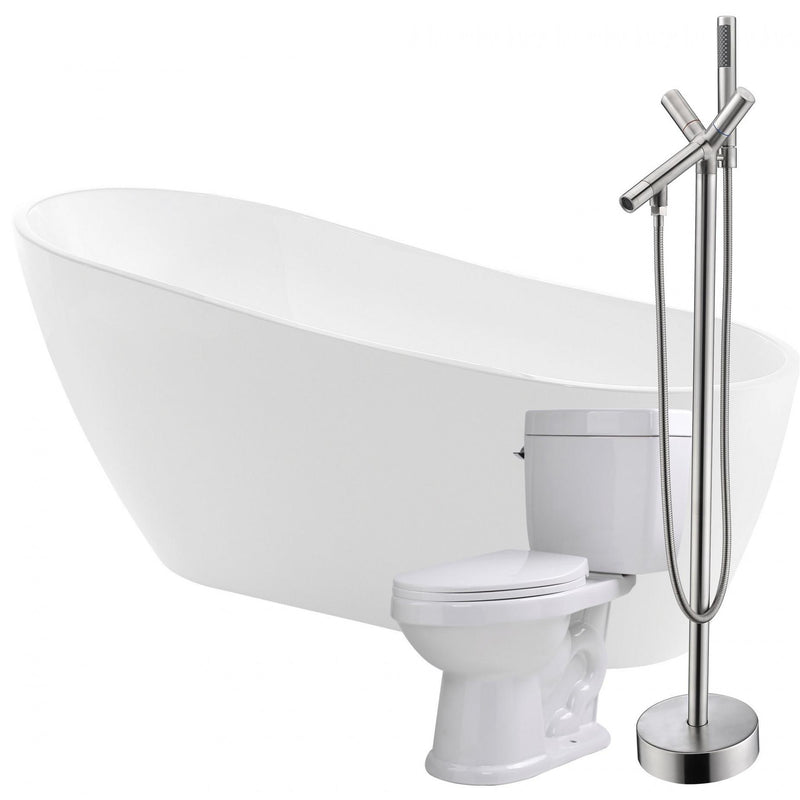 ANZZI FTAZ093-42B-65 Trend 67 in. Acrylic Flatbottom Non-Whirlpool Bathtub with Havasu Faucet and Talos 1.6 GPF Toilet - homeconvex