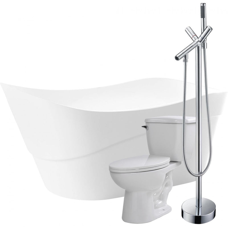 ANZZI FTAZ094-42C-55 Kahl 67 in. Acrylic Flatbottom Non-Whirlpool Bathtub with Havasu Faucet and Kame 1.28 GPF Toilet - homeconvex
