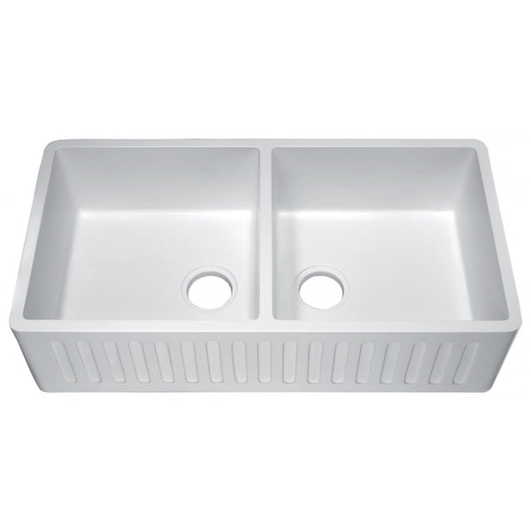 ANZZI K-AZ224-2A Roine Farmhouse Reversible Glossy Man Made Stone 35 in. Double Basin Kitchen Sink in White - homeconvex