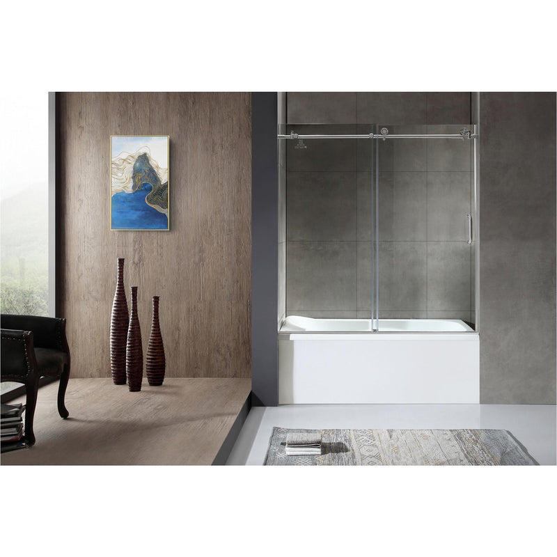 ANZZI SD-AZ17-01BN Don Series 59 in. x 62 in. Frameless Sliding Tub Door in Brushed Nickel - homeconvex