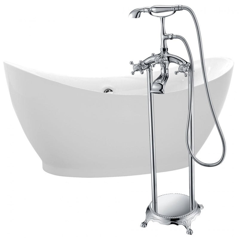 ANZZI FTAZ091-0052C Reginald 68 in. Acrylic Soaking Bathtub in White with Tugela Faucet in Polished Chrome - homeconvex