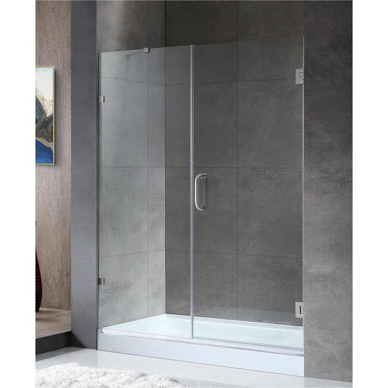 ANZZI SD-AZ07-01BN Consort Series 58.5 in. by 72 in. Frameless Hinged Alcove Shower Door in Brushed Nickel with Handle - homeconvex