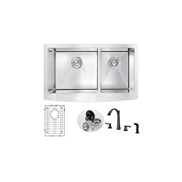 ANZZI K36203A-032O Elysian Farmhouse 36 in. Double Bowl Kitchen Sink with Soave Faucet in Oil Rubbed Bronze - homeconvex