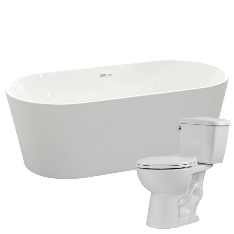 ANZZI FTAZ098-T063 Chand 67 in. Acrylic Soaking Bathtub with Cavalier 2-piece 1.28 GPF Single Flush Toilet - homeconvex