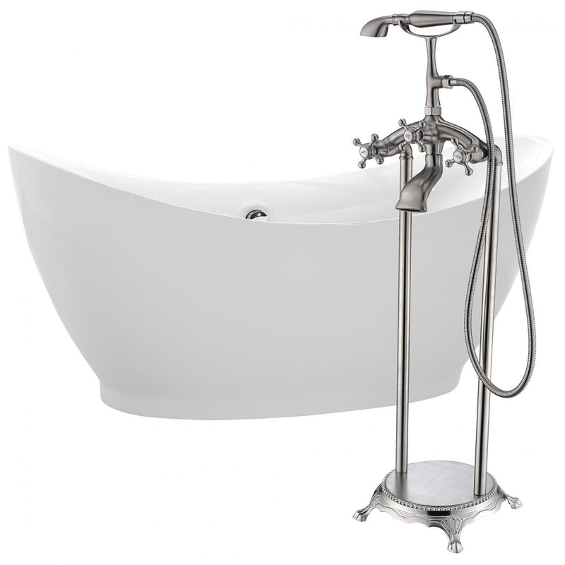 ANZZI FTAZ091-0052B Reginald 68 in. Acrylic Soaking Bathtub in White with Tugela Faucet in Brushed Nickel - homeconvex