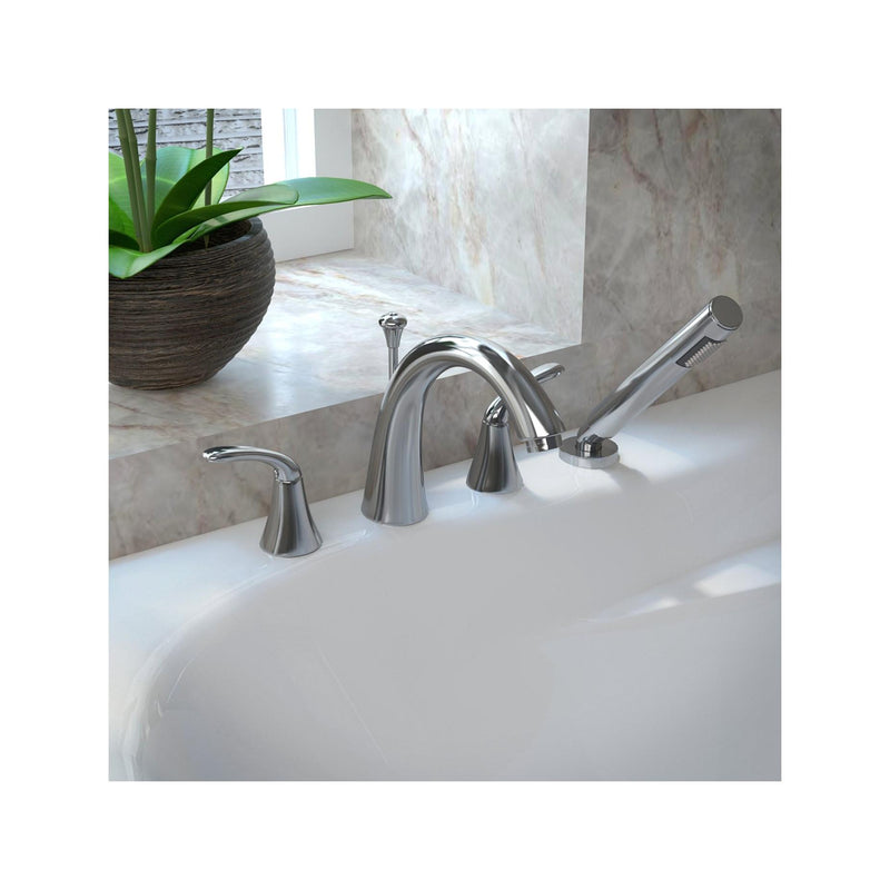 ANZZI FR-AZ074 Fawn Series 2-Handle Deck-Mount Roman Tub Faucet with Handheld Sprayer in Polished Chrome - homeconvex