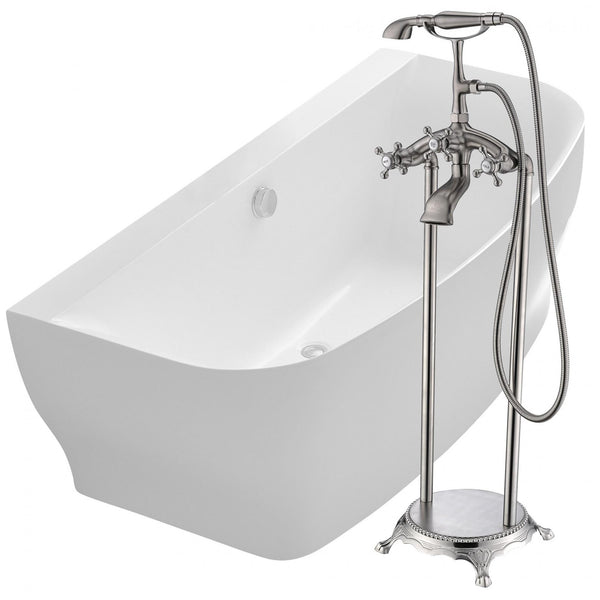 ANZZI FTAZ112-0052B Bank 64.9 in. Acrylic Flatbottom Bathtub in White with Tugela Faucet in Brushed Nickel - homeconvex