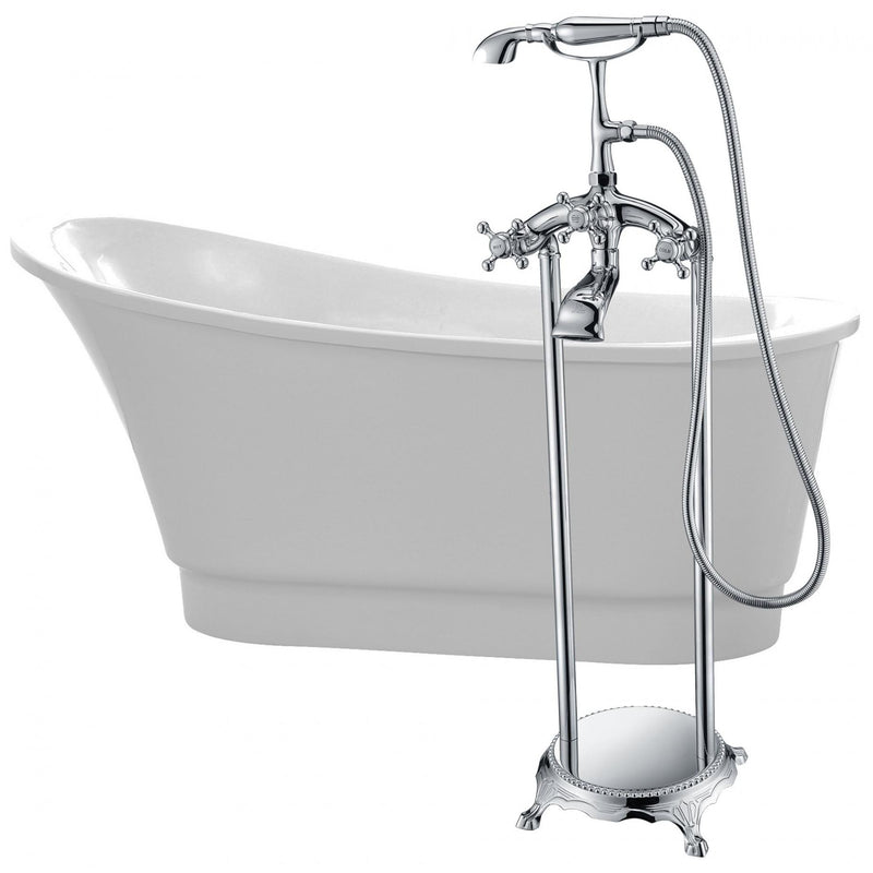 ANZZI FTAZ095-0052C Prima 67 in. Acrylic Flatbottom Non-Whirlpool Bathtub in White with Tugela Faucet in Polished Chrome - homeconvex