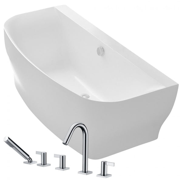 ANZZI FTAZ112-375 Bank 64.9 in. Acrylic Flatbottom Non-Whirlpool Bathtub in White with Snow Faucet in Polished Chrome - homeconvex