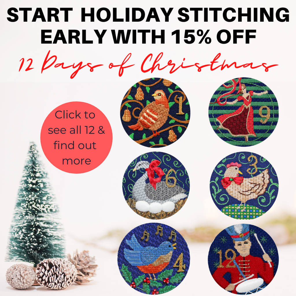 12 Days of Christmas needlepoint ornament series