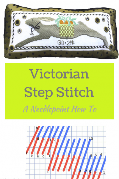 slanted victorian step stitch needlepoint how to