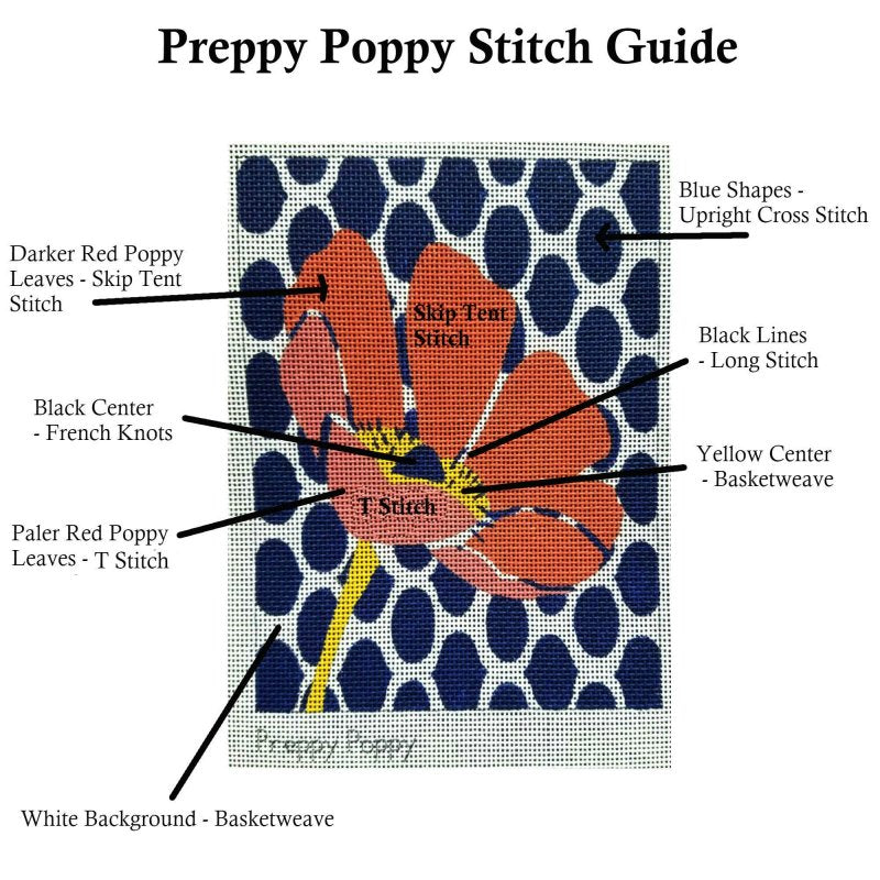 preppy poppy needlepoint stitch guide for beginners
