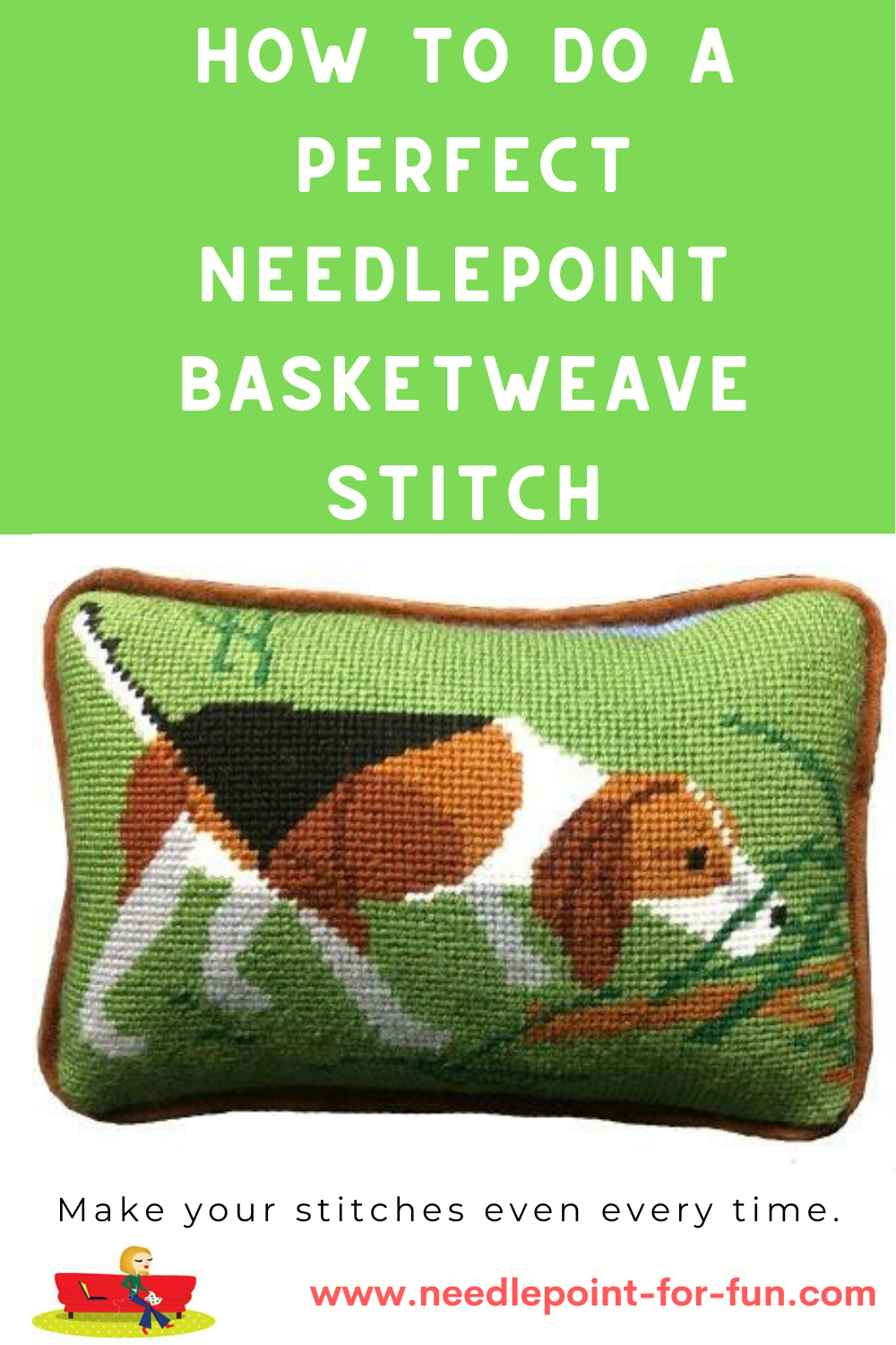 how to do a perfect needlepoint basketweave stitch