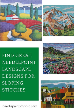 Landscape needlepoint designs for sloping stitches