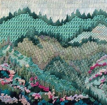 needlepoint stitches for hills and mountains
