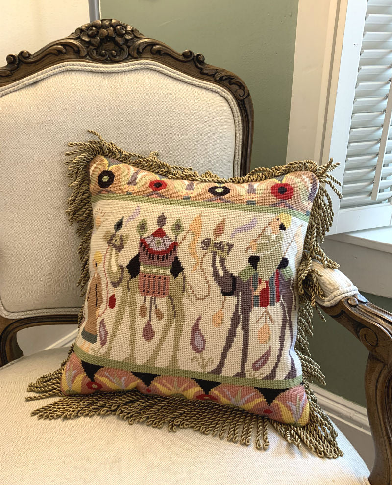 needlepoint pillow finishing with trim