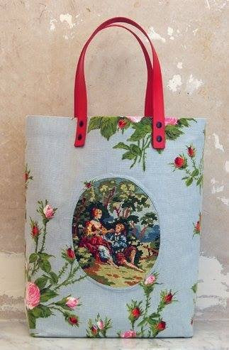 tote bag with needlepoint inset