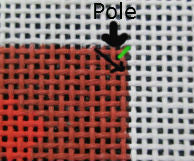needlepoint basketweave up the steps and down the pole